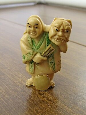 Antique Netsuke of a Performer Holding a Demon Mask - Cattle Bone, Signed