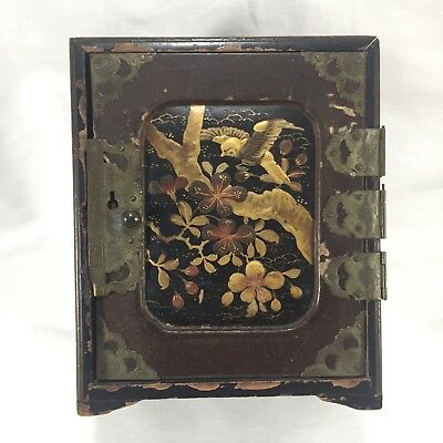 Antique Japanese Wooden Lacquer Cabinet Jewellery / Trinket Box