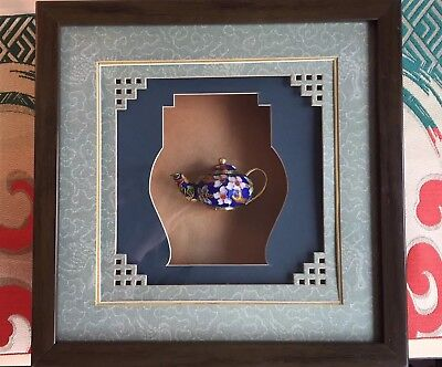 Cloisonne Enamel Chinese Blue Gold Floral Mini Teapot in Shadow Box Framed
