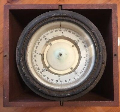 Vintage 1943 US Navy Ships Compass w/ Wood Case maritime collectible beck Lee 3