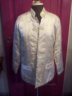 Vintage White Ladies Satin Asian Jacket size M