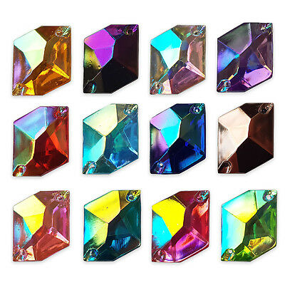 20pcs 13x16mm Rhombus AB Sew On Gems Resin Rhinestone Costume Embellishments