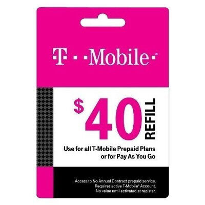 T-Mobile $40 Refill Card for Prepaid Accounts 100 75 55 50 45 25 10