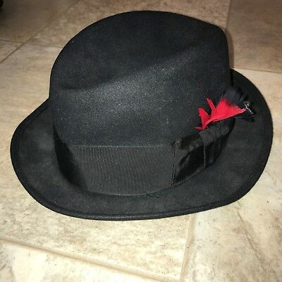 f0c330d2f STETSON BLACK FEDORA Hat w/ Black Band & Red Feathering Size 7-1/4