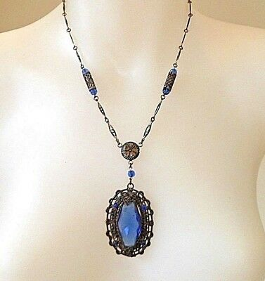 Art Deco CZECH Faceted Blue Glass & Filigree Brass Vintage Necklace