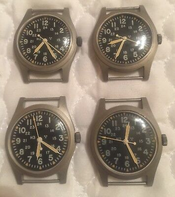 Lot Of 4 Hamilton H3 Vintage US Military Watch MIL-W-46374B 1979 Great Working