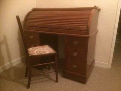 Late Victorian Roll Top Desk and Chair
