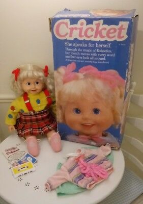Rare 1986 Cricket Talking Doll - Matchbox toys - UK version.Pre-loved.
