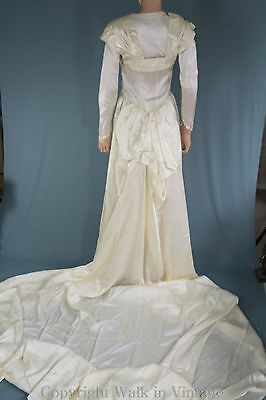 Vintage Depression Era  30s 40s Satin Wedding Dress with Long Train, & Bustle S