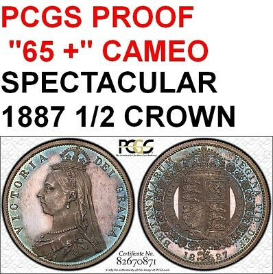 "Uk 1887 1/2 Crown-Pcgs Proof ""65+ Cameo""-Pop 2/1- Undergraded-Spectacular Coin"