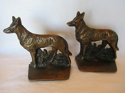 "Vintage Large Cast Iron Bookends 6"" Tall, German Shepherds, Bronzed Wash"