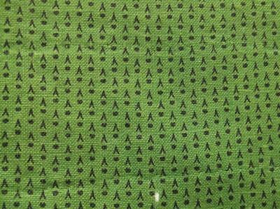 ~Back In Time Textiles~Pre-Civil War era Overdyed Green Calico fabric pcs~