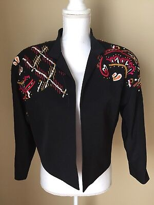 Escada vintage Margaretha Ley Bolero Embroidered  Blazer Jacket Sz 38 (M)