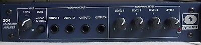 """SYMETRIX 304 - 4 Output Stereo Headphone Amplifier AMP 1/4"""" TRS MADE IN USA"""
