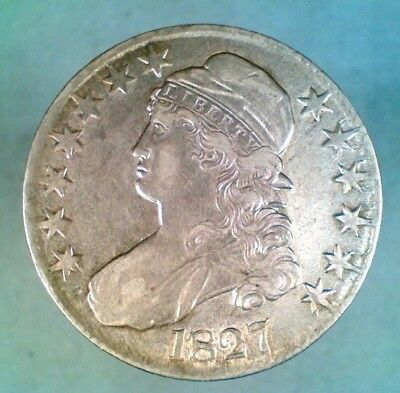 1827 Square 2 Capped Bust Half Silver Dollar O-125 R3