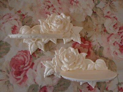 New! Shabby Chic Carved Rose and Leaf Wall Shelves L/R Pair