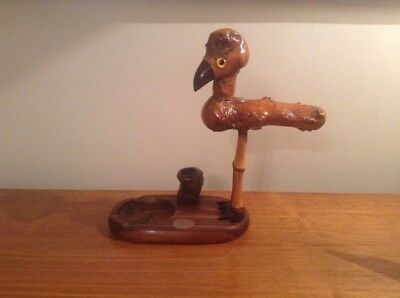 "Quirky Art Deco Henry Howell 9.5"" Yz Nut Bird.ashtray,match Strike & Holder"