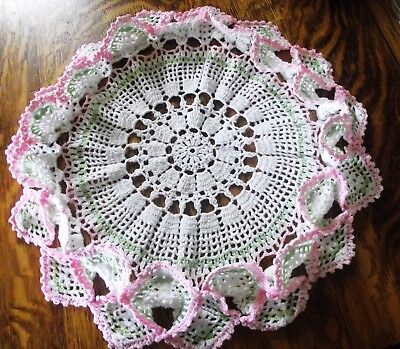 Vtg. Hand Crochet Lace Doily White Pink Green Stand Up Edge 15""