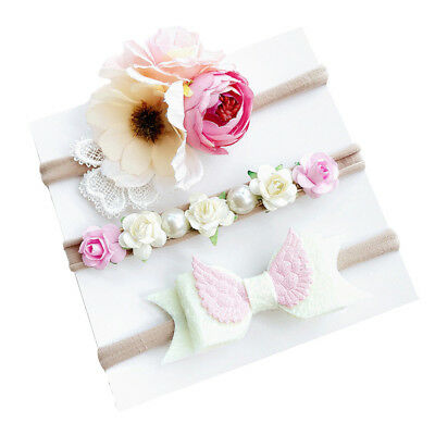 3Pcs/set Fahion Kids Cute Girls Baby Toddler Flower Headband Hair Band Headwear