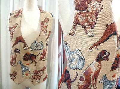 FUN Vintage 90s DOGS DOG BREEDS 1990s Dogalicious TAPESTRY VEST M