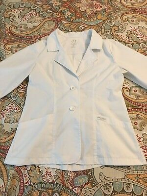 """Peaches Med Couture 9618 2-Button ¾ sleeve 28"""" Lab Coat  White Medium"""