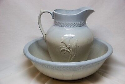 Vintage Red Wing Pottery Blue White Lily Pitcher Bowl Basin Rumrill Stoneware