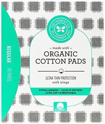 Honestly Organic Cotton Pads Hypoallergenic Regular 10 Count Ultra Thin