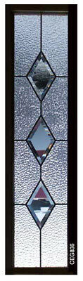 Lead glass 8 x 36  windows with Bevel Diamonds & Obscure art glass