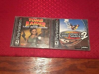 Lot Of 2 PS1 Games: Tomb Raider The Last Revelation And Tony Hawk 2 Tested, Work