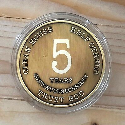 5 Year Bronze Alcoholics Anonymous Coin AA Medallion Bigger Design Free Shipping
