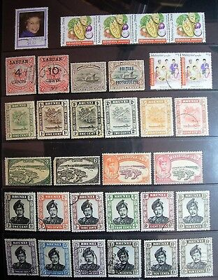 Brunei,Labuan, North Borneo, Malasia, HK - Mixed Selection of 33 Great Stamps