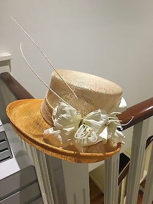 Straw And Flower Hat Orange And Pale Mint Green With Flower And Straw Sticks