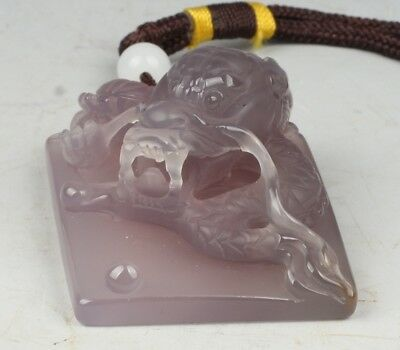 Chinese Exquisite Hand-carved Dragon carving agate Pendant