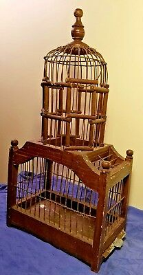 Awesome Antique/ Vintage Wooden & Wire Bird Cage Metal Tray w/ Perch birdcage
