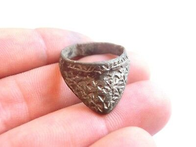 Great VIKING ERA Engraved Billon/Silver Archer's Ring