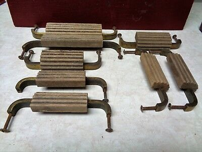 8 Vintage Wood & Metal With Original Slotted Screws Desk Drawer Handles #3