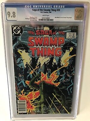 1984 SAGA OF THE SWAMP THING # 20 CGC 9.8 UPC White Pages, 1st Alan Moore Issue!