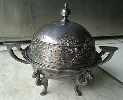 Very Rare 1885 Wilcox Renaissance Revival Style Silver Plated Butter Dish