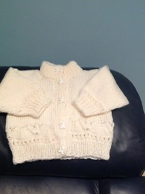 HAND KNITTED BABY CARDIGAN 0-3 Months - Cream With Teddy Buttons -  See Pics