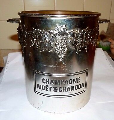 Vintage Ancien Seau A Champagne Moet & Chandon Decor Feuilles De Vigne Raisin Be