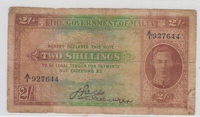 Malta 2 Shilling Note George V - Well Used