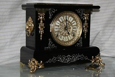 ANTIQUE SETH THOMAS SHELF MANTLE CLOCK-Totally!!-Restored- c/1898 D -April -