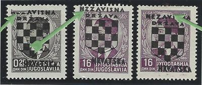 Croatia. 1941 (21 April). 2nd Provisional Issue. 3 stamps with OVERPRINT ERRORS*