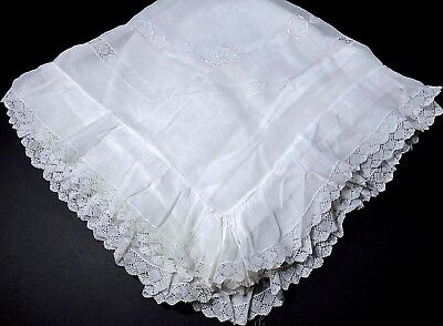 """Vintage Organdy Pillow Sham France Huge 40"""" Torchon Lace & Delicate Embroidery"""
