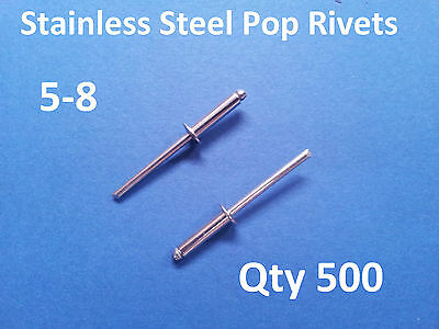 500 POP RIVETS STAINLESS STEEL BLIND DOME 5-8 4mm x 16.5mm 5/32""