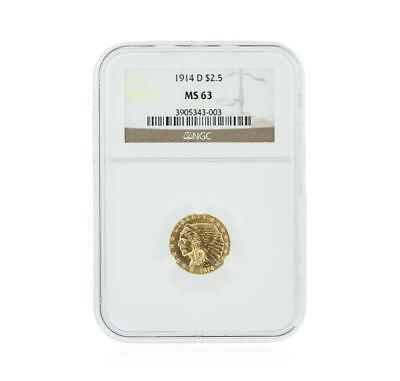 1914-D NGC MS63 $2.50 Indian Head Quarter Eagle Gold Coin Lot 319