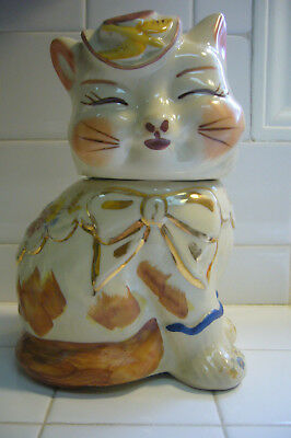 RARE VINTAGE 1940s SHAWNEE PUSS 'N BOOTS COOKIE JAR GOLD TRIM AND FLOWERS