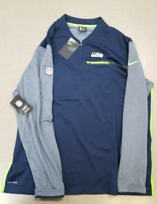 NWT$85 Men L & 2XL Nike NFL 🏈 SEATTLE SEAHAWKS 🏈 OnField Coaches 🏈1/2 Zip Top