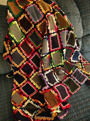 HAND MADE VINTAGE Wool/Crochet Fusion Memory Quilt Grandpa's Wool Pant Squares