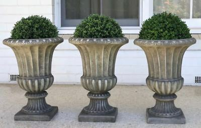 3 X French Provincial Scallop Edge Garden Urns With Faux Topiary